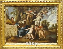 17th Century Italian Old Master Holy Family & Putto Christ Virgin Mary Painting