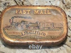 1800s DETROIT MI Tobacco Advertising Tin antique old Railroad RR VTG train sign