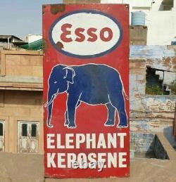 1920's Old Antique Vintage Rare ESSO Elephant Kerosene Oil Porcelain Enamel Sign