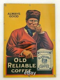 1920s OLD RELIABLE COFFEE Advertising TIN SIGN Small Antique Original