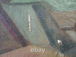 1930's Old American Painting Antique Vintage Regionalism Rare Landscape Wpa Era