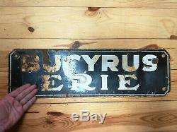 1930's Old Antique Porcelain Sign Bucyrus Erie Mining Railroad Crane Equipment