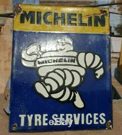 1930's Old Antique Rare Michelin Tire Ad Porcelain Enamel Sign Board Collectible