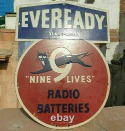 1930's Old Antique Vintage Eveready Radio Batteries Porcelain Enamel Sign Board