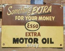 1930's Old Antique Vintage Rare ESSO Motor Oil Ad. Porcelain Enamel Sign Board
