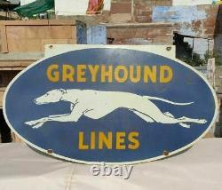 1930's Old Antique Vintage Rare Greyhound Lines Porcelain Enamel Big Sign Board