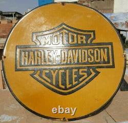 1930's Old Antique Vintage Rare Harley Davidson Porcelain Enamel Sign Board