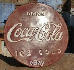 1930's Old Vintage Rare Antique Coca Cola Ice Cold Porcelain Enamel Sign Board