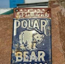 1930's Old Vintage Rare Antique Polar Bear Tobacco Porcelain Enamel Sign Board