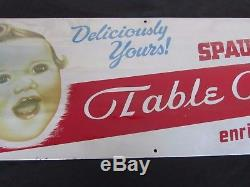1930's Spaulding Table Queen Bread LITHO TIN SIGN Rare Antique Advertising Old