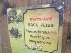 1930s Winchester Bass Flies Sporting Store Display Easel Back Old Fishing Lures