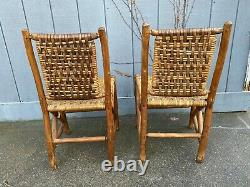 1940's Old Hickory Martinsville Chairs Pair Signed Lodge Camp Adirondack Dining