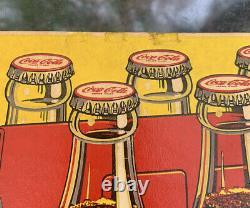 1946 Vintage Drink Coca Cola 6 Pack Paper Sign Antique Old Soda Pop Signs Rare