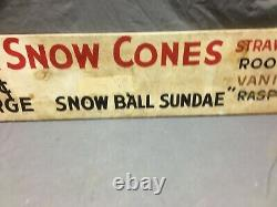 1950's Antique Red Wagon Old Country Fair Ground wood sign Vintage Snow Cone