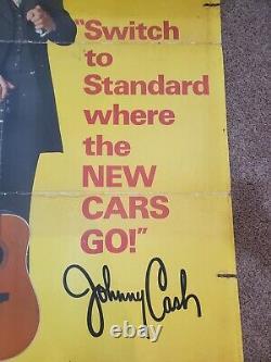 1970 JOHNNY CASH STANDARD OIL GAS SIGN VTG ADVERTISING old antique record guitar