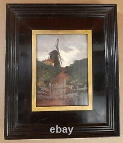19th C Dutch French Impressionist Oil Windmill Signed Antique Old Exquisite Gem