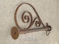 19th C EARLY OLD ORIGINAL WROUGHT IRON TRADE SIGN HOLDER BRACKET ANTIQUE GAS OIL