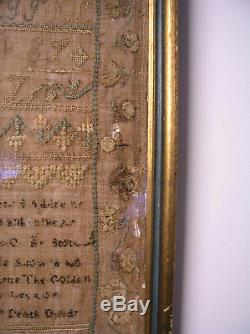 200 yr. Old Antique Linen Framed Signed Sampler 1820 WithFLOWERED BORDER