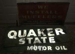 2 Old Antique Metal Automotive Signs Quaker State Oil and Walker Muffler