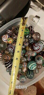 352 Marbles Antique German Amazing Multi Color Onion Skin Lutz Signed Old & New