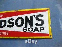 38278 Old Antique Vintage Enamel Sign Shop Advert Hudson's Soap Box Packet