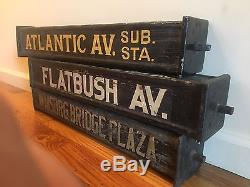 3 Vintage Brooklyn NY Traction Trolley Car Train Old Antique Wood Station Sign's