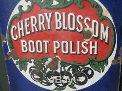 41525 Old Vintage Antique Enamel Sign Shop Advert Cherry Blossom Boot Polish Tin