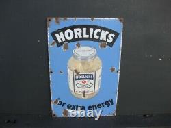46017 Old Vintage Antique Enamel Sign Shop Advert Horlick's Food Tin Packet