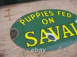 46971 Old Vintage Antique Enamel Sign Pet Shop Advert Dog Puppy Food Farm Animal