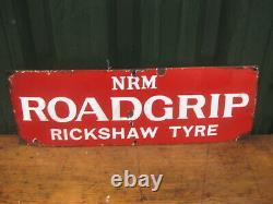 46983 Old Antique Enamel Sign Garage Advert Bicycle Cycle Tire Tyres Bike NRM