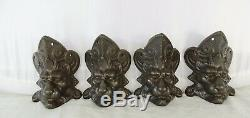 4 Antique French Cast Iron Lion Head Feets- Old Coal Stove Feets Signed Martin