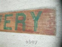ANTIQUE LARGE 51 WOOD ADVERTISING SIGN LIVERY with OLD RED WASH PAINT