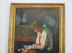 ANTIQUE Marion Estelle Churchill Raulston PAINTING PORTRAIT CHILD W PARROT OLD