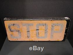 ANTIQUE OLD 1930s-40s DOUBLE SIDED BUS STOP SIGN GROUND GLASS RECTANGULAR YELLOW