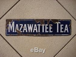 ANTIQUE OLD ENAMEL ADVERTISING SIGN MAZAWATTEE TEA PATENT CO BIRMINGHAM c. 1900