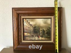 ANTIQUE, OLD French oil painting by T. Costello. Framed /signed