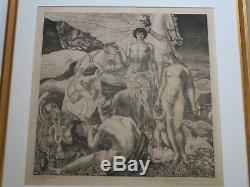 ANTIQUE OLD MASTER ETCHING ART DECO NUDE SURREAL Raymond-Jacques BRECHENMACHER