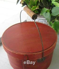 ANTIQUE PANTRY BOX WithLID, BAIL HANDLE, IN OLD RED PAINT, SIGNED S. O. HINGHAM MASS
