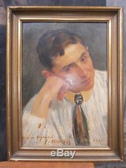 ANTIQUE RARE OLD PORTRAIT CZECH OIL PAINTING sign JAKUB OBROVSKY /1982-1949/