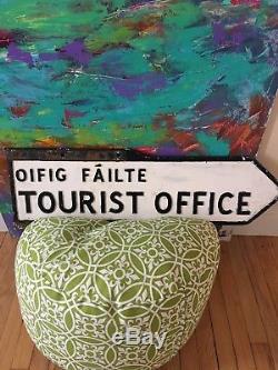 AUTHENTIC IRISH IRELAND Road Sign. Gaelic. Antique Old Tourist Office