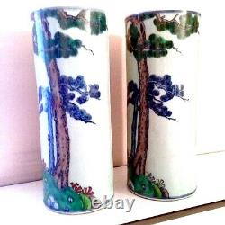 A Pair Of Old Chinese Famille Verte Porcelain Warrior Vases