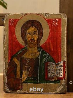 Antique 1400's Russian Orthodox Icon Jesus Christ Oil on Wood Old Religious Art