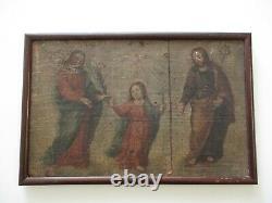 Antique 17th Century Old Master Painting Icon Portrait Religious Sacred Art Rare