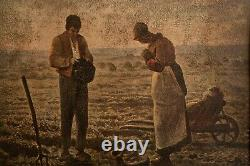 Antique 1800s French Oil Painting Farm Peasant Landscape People Realism Old Art