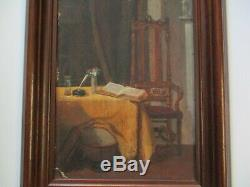 Antique 1880's Oil Painting Signed Interior Mansion Old Still Life Chair Book