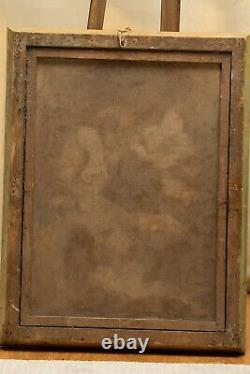 Antique 18th Century Oil Painting Canvas Jesus Christ Virgin Mary Religious Old