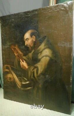 Antique 18th Century Old Master Painting St. Francis Italian Hermit Skull Santo