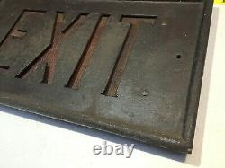 Antique 1900s CAST IRON EXIT SIGN AMBER Glass from Old Building in PASADENA CA