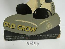 Antique 1940's Old Crow Whiskey Wooden Standee 20 Sign SB262