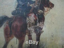 Antique 19th Century Oil Painting Military Soldier French Russian Signed Old